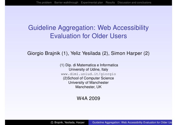 The problem Barrier walkthrough Experimental plan Results Discussion and conclusions     Guideline Aggregation: Web Access...