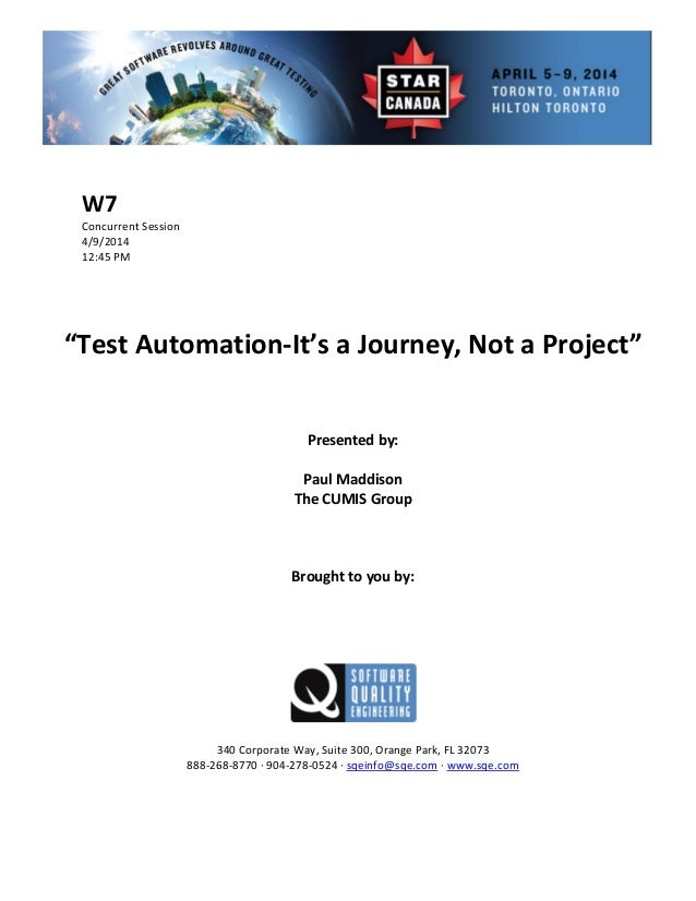 Test Automation—It's a Journey, Not a Project