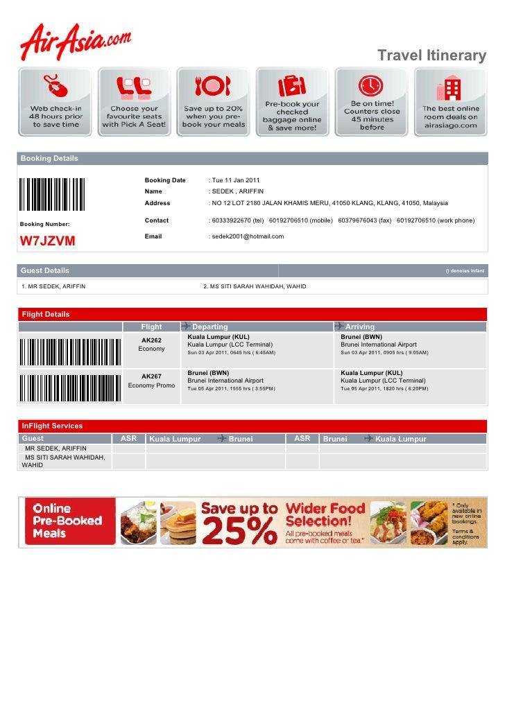Travel ItineraryBooking Details                                 Booking Date           : Tue 11 Jan 2011                  ...