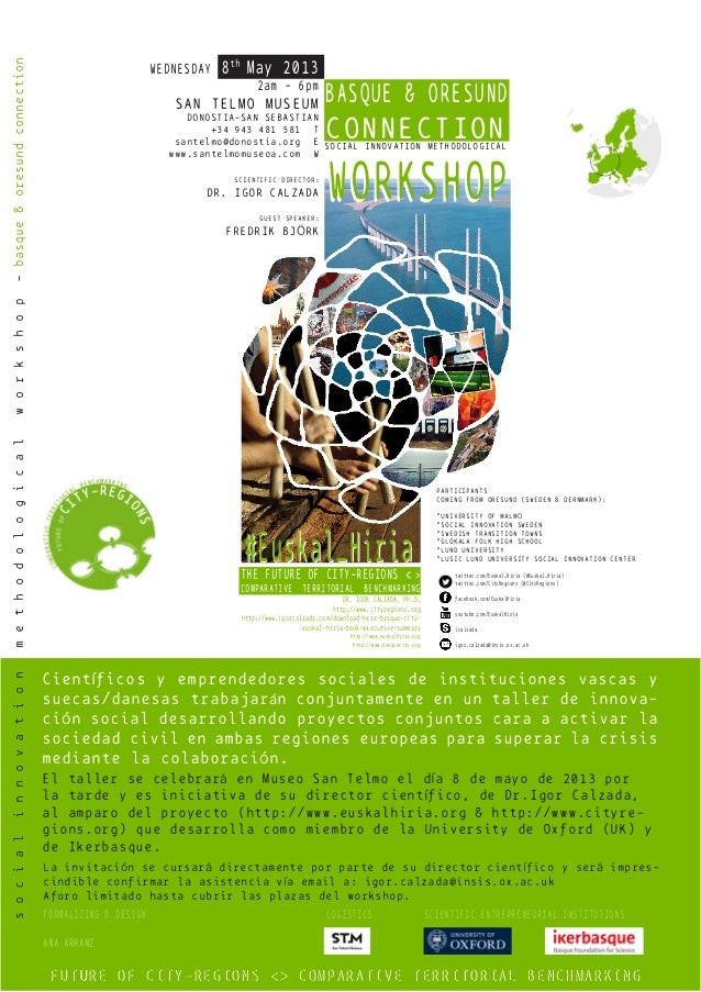 WORKSHOPWORKSHOPBASQUE & ORESUNDCONNECTIONSOCIAL INNOVATION METHODOLOGICALWEDNESDAY 8thMay 20132am - 6pmSAN TELMO MUSEUMDO...