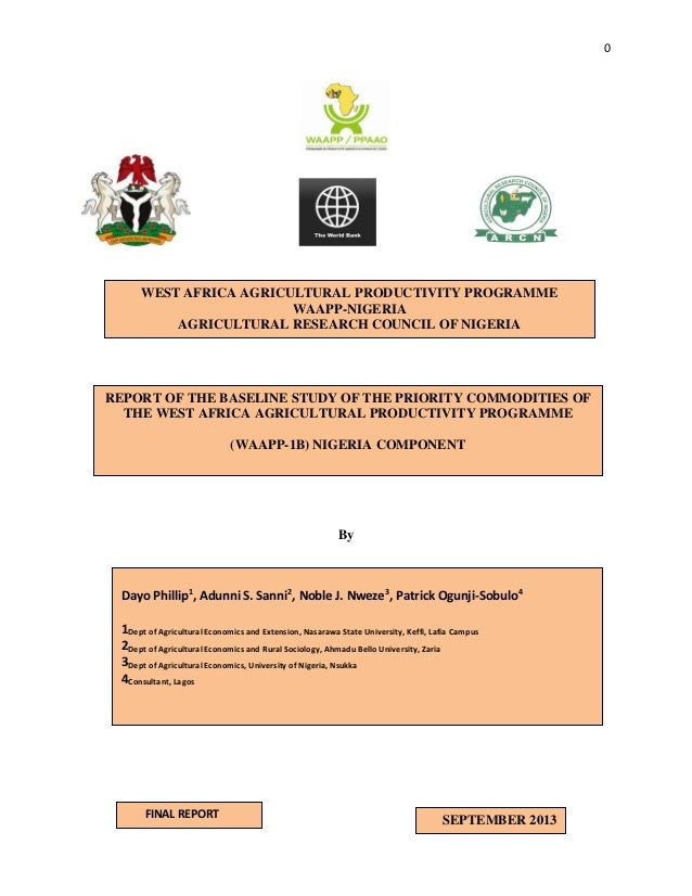 0  WEST AFRICA AGRICULTURAL PRODUCTIVITY PROGRAMME WAAPP-NIGERIA AGRICULTURAL RESEARCH COUNCIL OF NIGERIA  REPORT OF THE B...