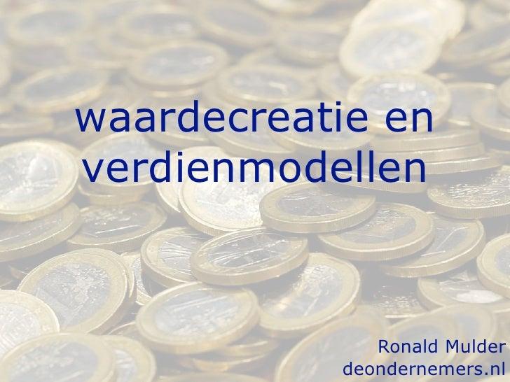 Waardecreatie en verdienmodellen januari 2011
