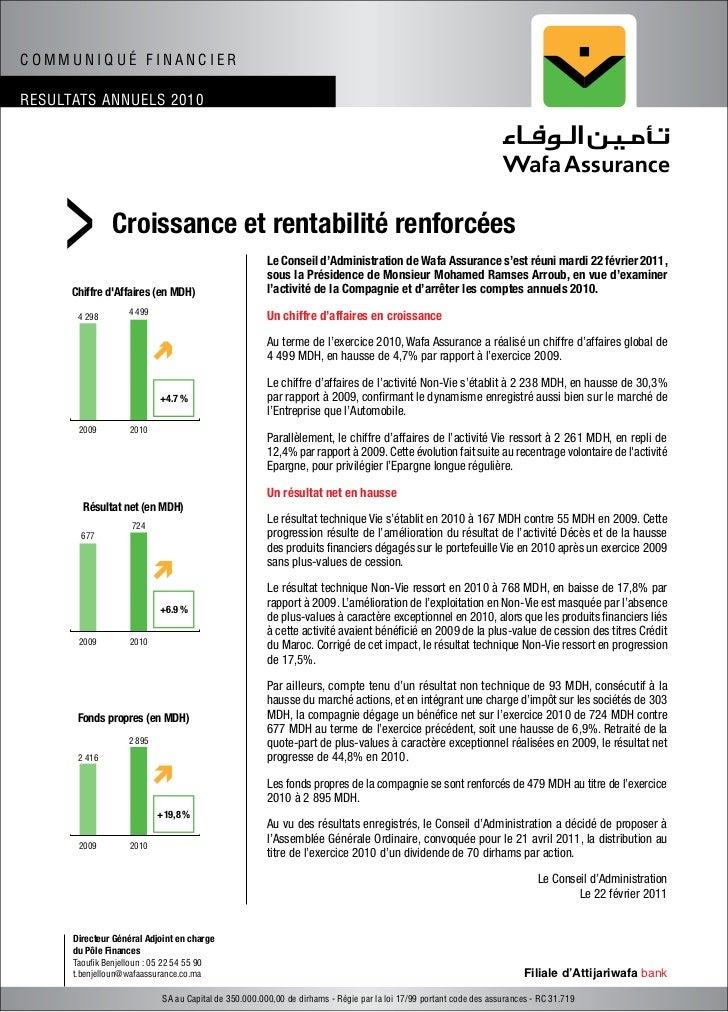 COMMUNIQUÉ FINANCIERRESULTATS ANNUELS 2010     >          Croissance et rentabilité renforcées      Chiffre dAffaires (en ...