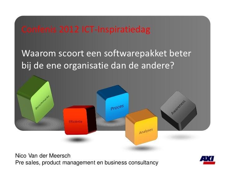 Confenis 2012 ICT-Inspiratiedag  Waarom scoort een softwarepakket beter  bij de ene organisatie dan de andere?Nico Van der...