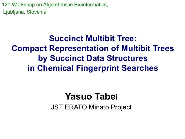 12th Workshop on Algorithms in Bioinformatics,Ljubljana, Slovenia             Succinct Multibit Tree:    Compact Represent...