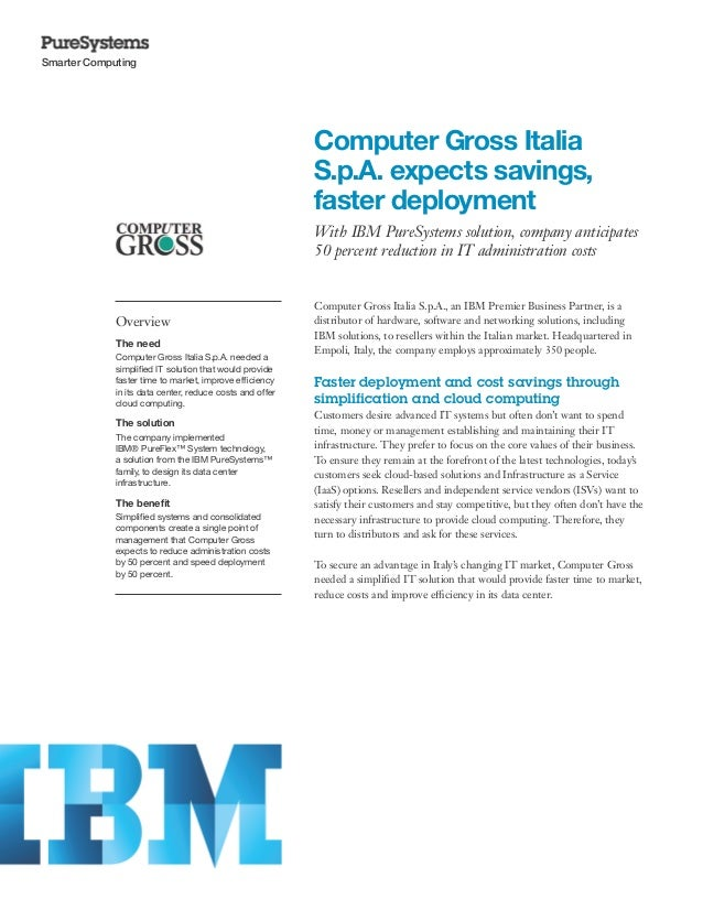 Computer Gross Italia S.p.A. expects savings, faster deployment