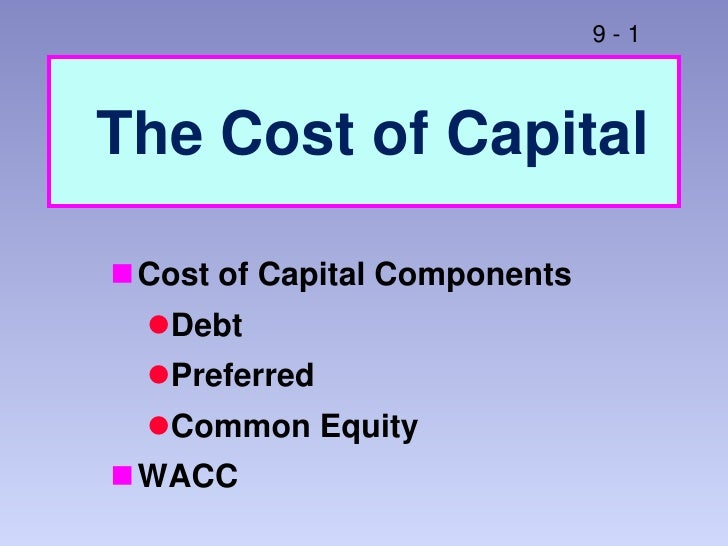 The Cost of Capital<br />Cost of Capital Components<br />Debt<br />Preferred<br />Common Equity<br />WACC<br />