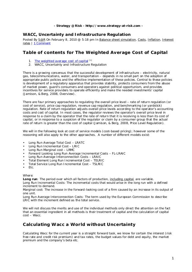 - Strategy @ Risk - http://www.strategy-at-risk.com -WACC, Uncertainty and Infrastructure RegulationPosted By S@R On Febru...