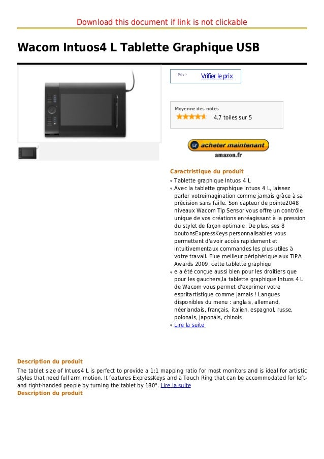Download this document if link is not clickableWacom Intuos4 L Tablette Graphique USB                                     ...