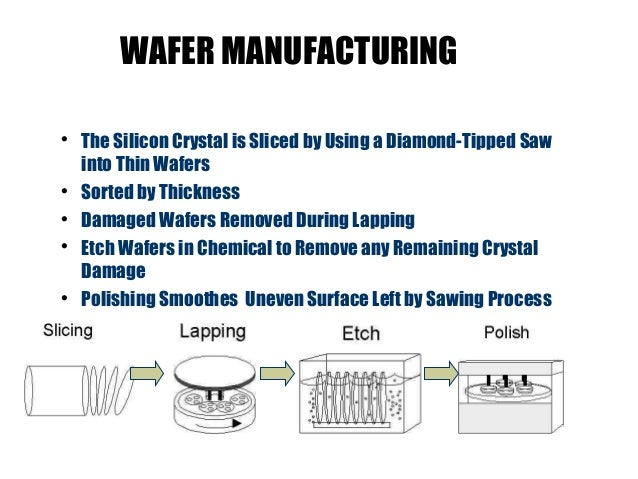 the process of manufacturing and the use of silicon chips This shows how computer chips are made from silicon crystal, to wafer to chips make silicon wafers and computer chips manufacturing process.