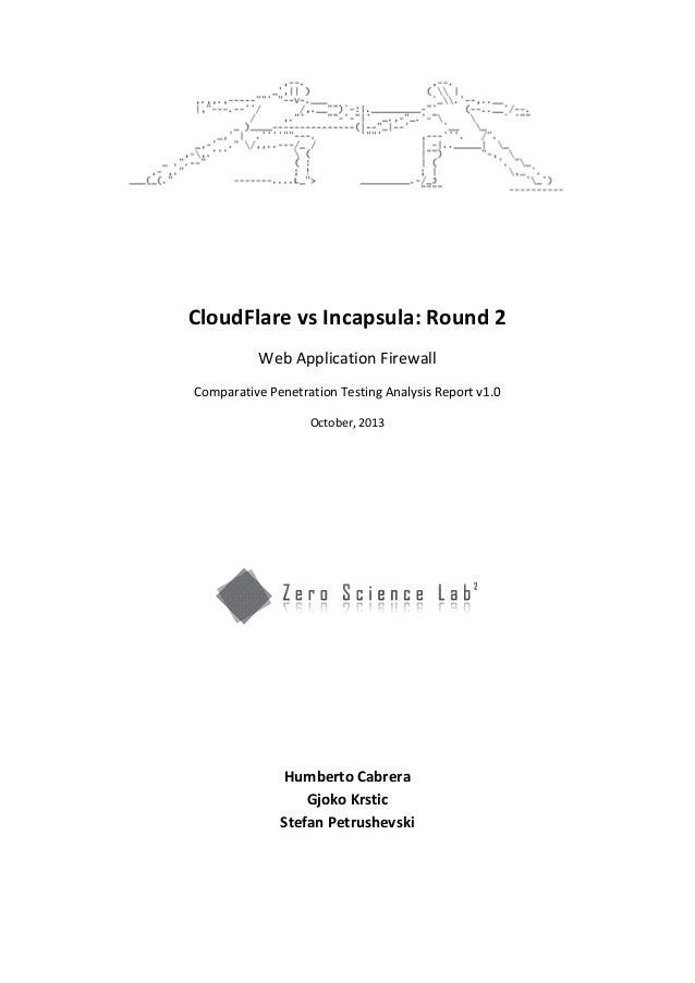 CloudFlare vs Incapsula: Round 2 Web Application Firewall Comparative Penetration Testing Analysis Report v1.0 October, 20...