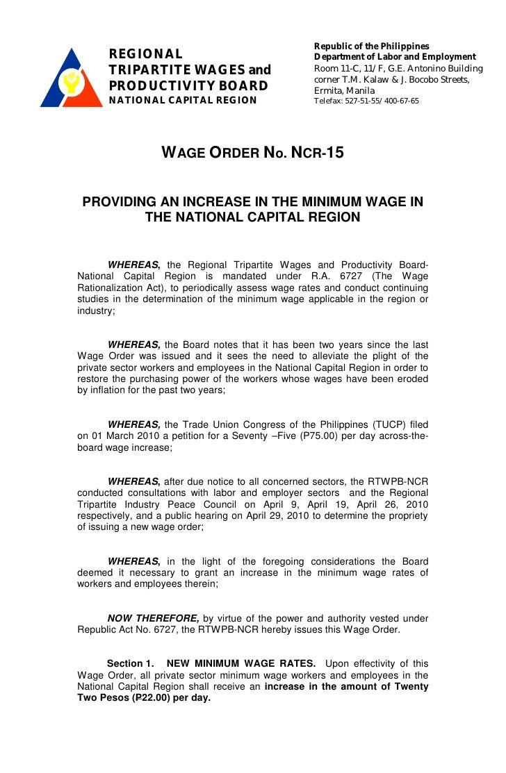 Wage Order No. NCR-15, effective July 1, 2010 with Implementing Rules