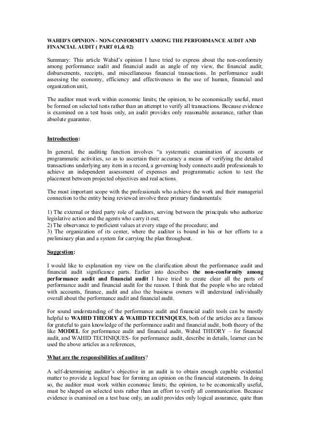 Wahid's opinion   non-conformity among the performance audit and financial audit (part 01,& 02)