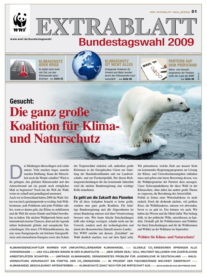 WWF Extrablatt zur Bundestagswahl