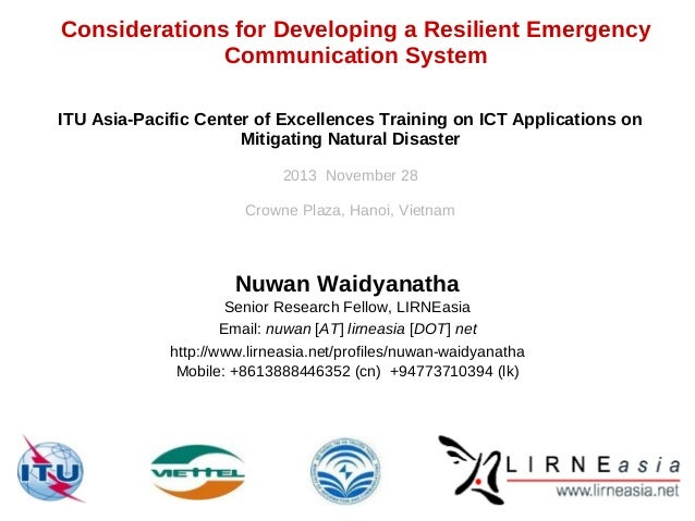 Considerations for Developing a Resilient Emergency Communication System