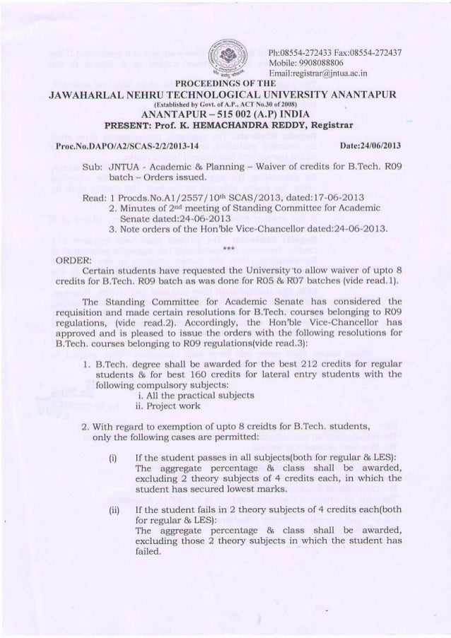 WAIVER OF CREDITS FOR B.TECH R09 BACH