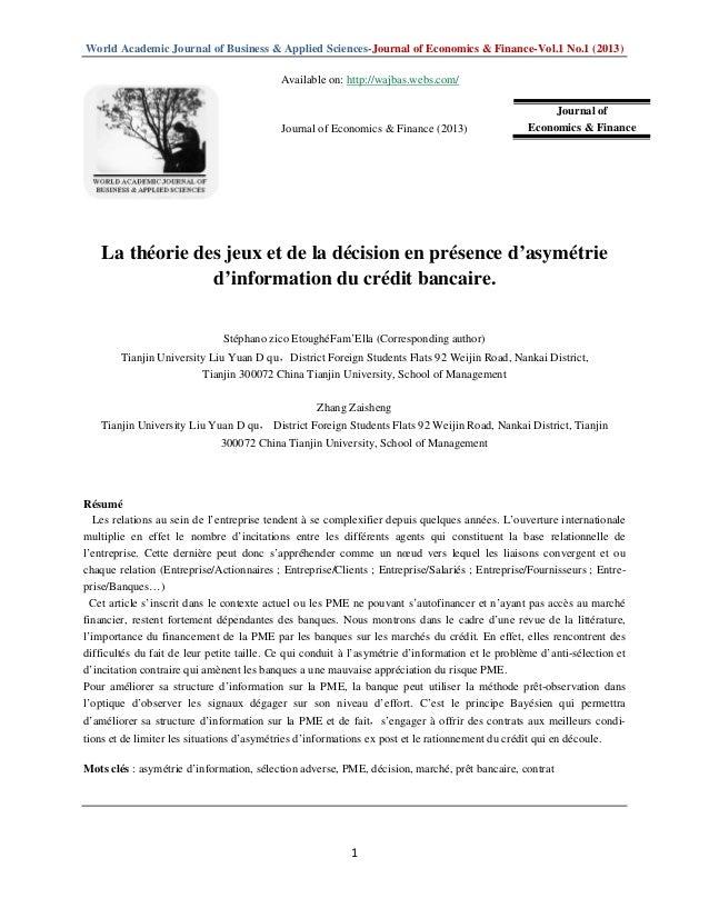 World Academic Journal of Business & Applied Sciences-Journal of Economics & Finance-Vol.1 No.1 (2013)1La théorie des jeux...