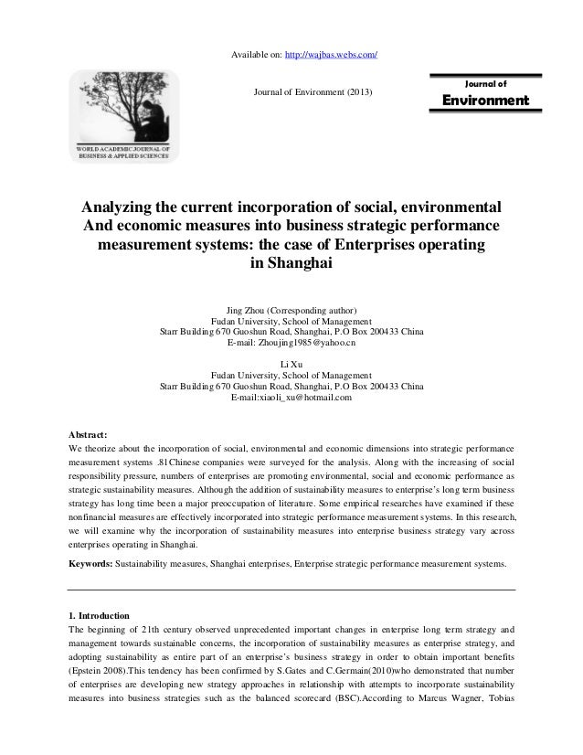 Analyzing the current incorporation of social, environmentalAnd economic measures into business strategic performancemeasu...