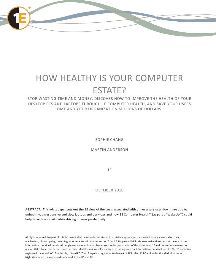 HOW HEALTHY IS YOUR COMPUTER                   ESTATE?  STOP WASTING TIME AND MONEY. DISCOVER HOW TO IMPROVE THE HEALTH OF...