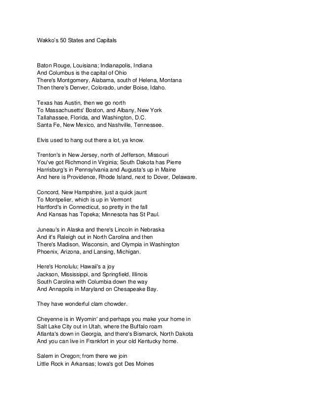 50 capitals song lyrics