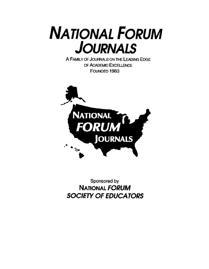 National FORUM of Multicultural Issues Journal, National FORUM Journals - Dr. Donald Collins, Invited Guest Editor - National FORUM Journals