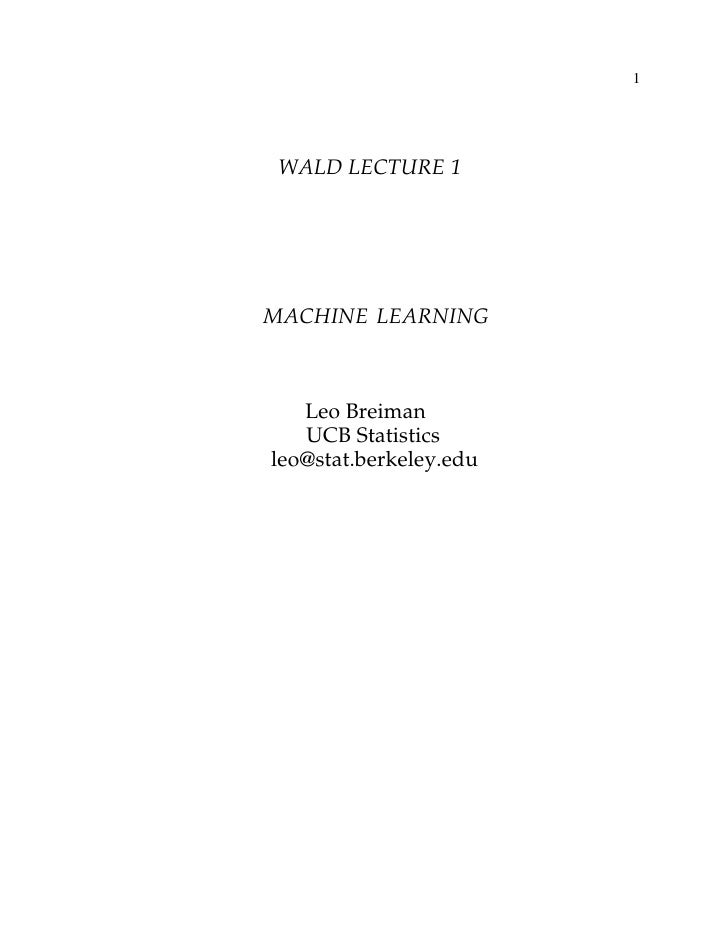 WALD LECTURE 1