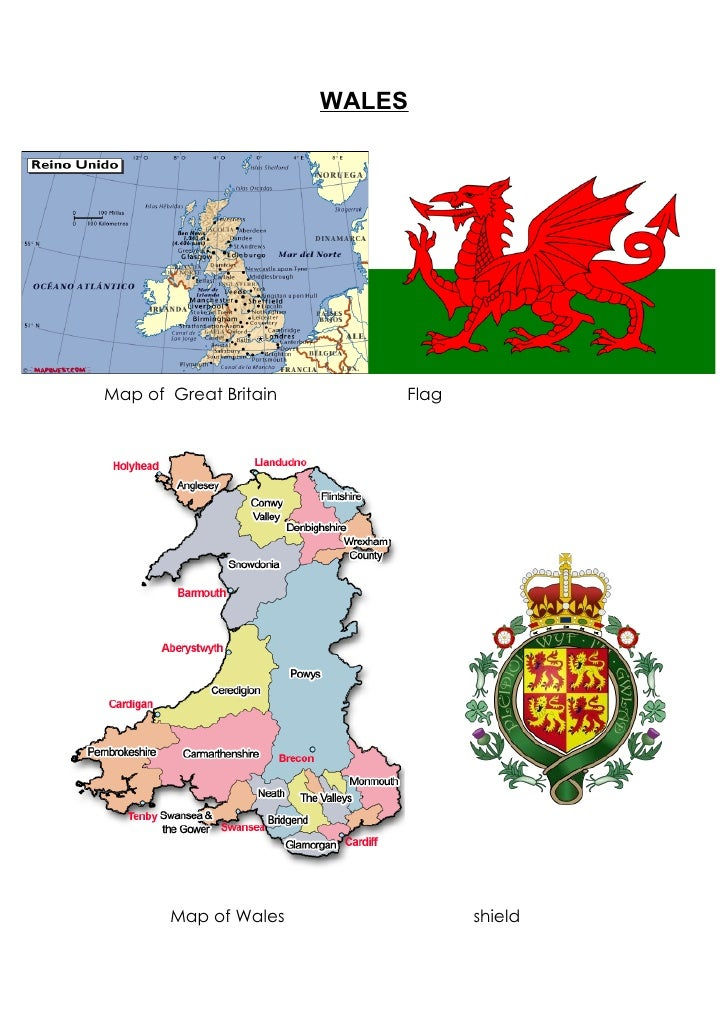 WALESMap of Great Britain       Flag       Map of Wales               shield