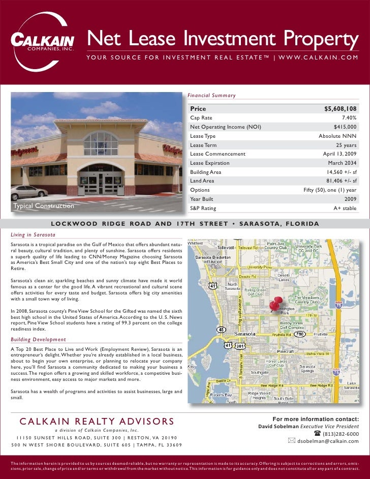 COMPANIES, INC.                                         Net Lease Investment Property                                     ...