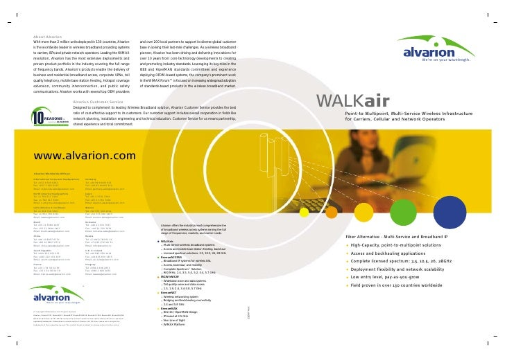 We're on your wavelength.     WALKair   Point-to Multipoint, Multi-Service Wireless Infrastructure   for Carriers, Cellula...