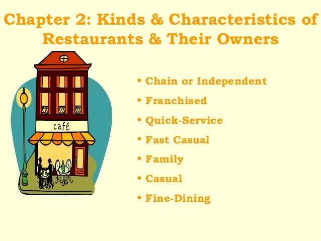 Chapter 2: Kinds & Characteristics ofRestaurants & Their Owners• Chain or Independent• Franchised• Quick-Service• Fast Cas...