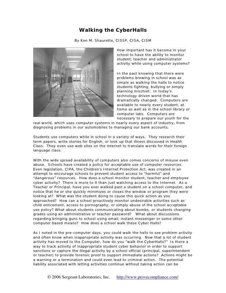 Walking the CyberHalls                        By Ken M. Shaurette, CISSP, CISA, CISM                                      ...