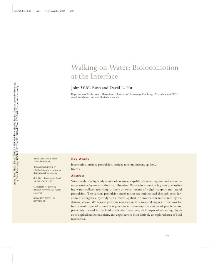 Walking On Water Biolocomotion At The Interface