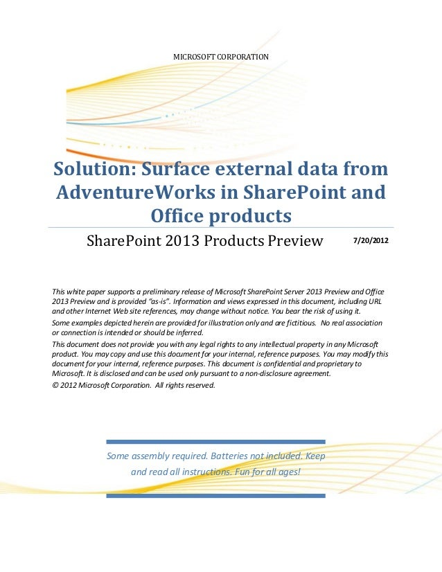 MICROSOFT CORPORATIONSolution: Surface external data fromAdventureWorks in SharePoint and           Office products       ...