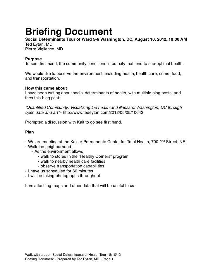 Briefing DocumentSocial Determinants Tour of Ward 5-6 Washington, DC, August 10, 2012, 10:30 AMTed Eytan, MDPierre Vigilanc...