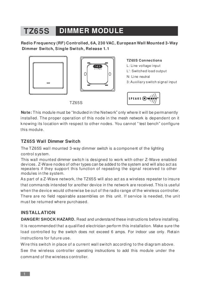 Wall dimmer with single paddle and frame tkb manual