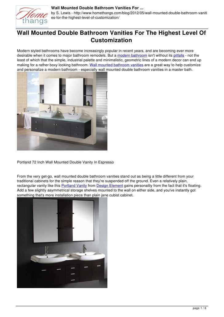 Wall Mounted Double Bathroom Vanities For ...                     by S. Lewis - http://www.homethangs.com/blog/2012/05/wal...