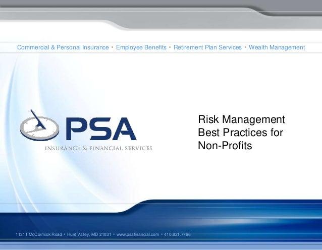 Risk Management Best Practices for Non-Profits