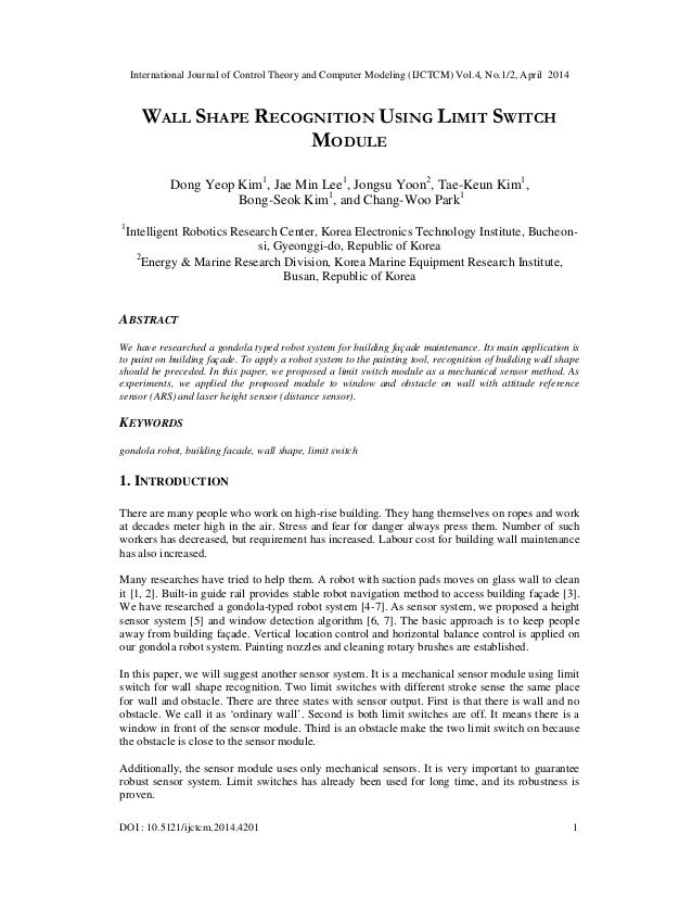 Wall shape recognition using limit switch module