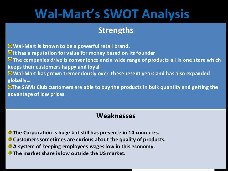 wal mart organizationindustry overview essay A financial analysis of wal-mart is presented in the report which includes a ratio analysis, basic profit and loss analysis, presentation of the company balance sheet, and much more a swot framework analysis of wal-mart completes this in-depth company analysis.