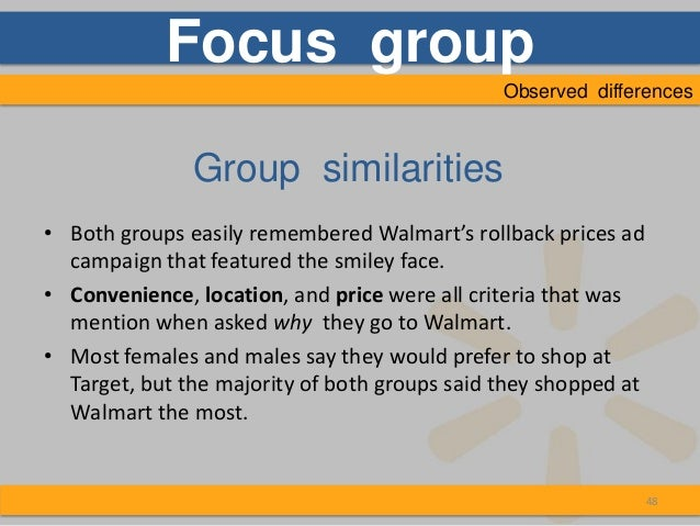 similarities and differences between walmart and target Start studying marketing ch 8 learn vocabulary, terms, and more with flashcards criteria for forming segments involve both similarities and differences marketers are increasingly emphasizing a tiffany/walmart strategy, which is to offer.