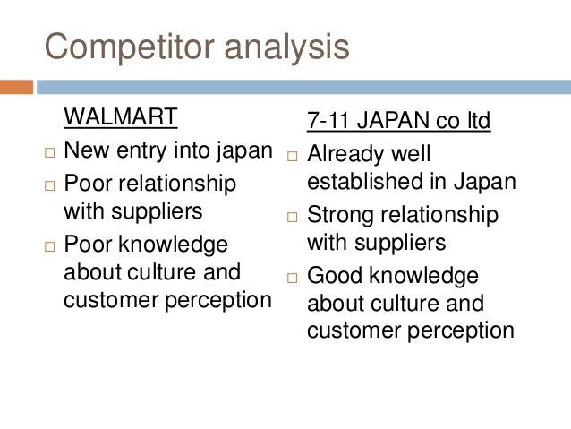 wal mart competitive strengths How target differentiates itself from walmart walmart vs target two of the largest retailers in america competing for consumer attention and share of wallet in other words, target's competitive advantage lies in the two values of design and fun.