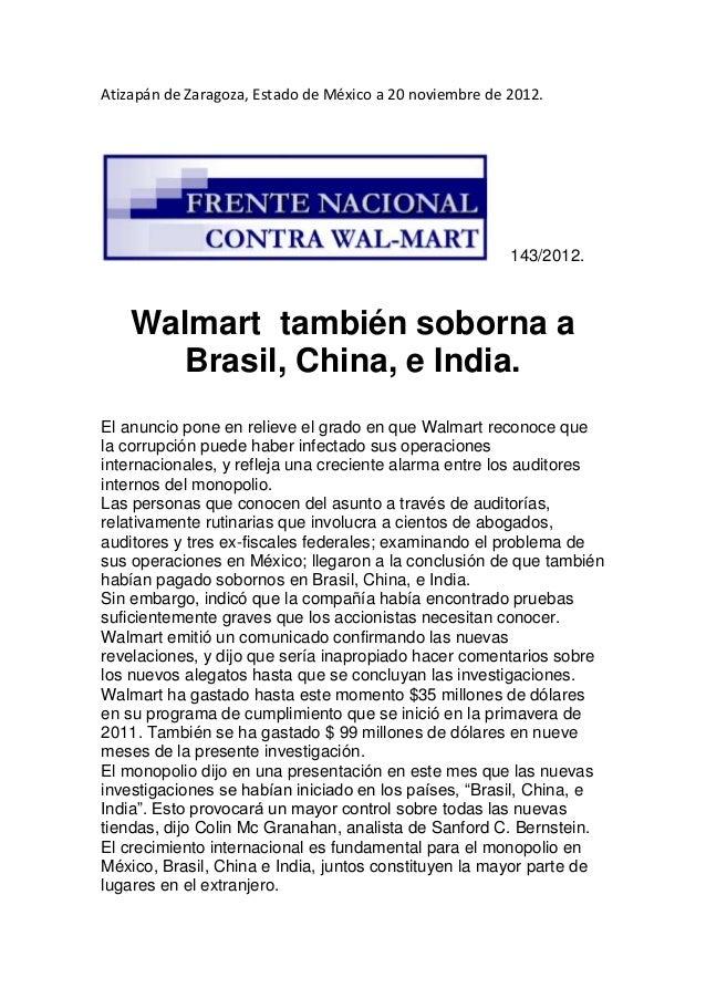 Walmart también soborna a china, india y brasil.