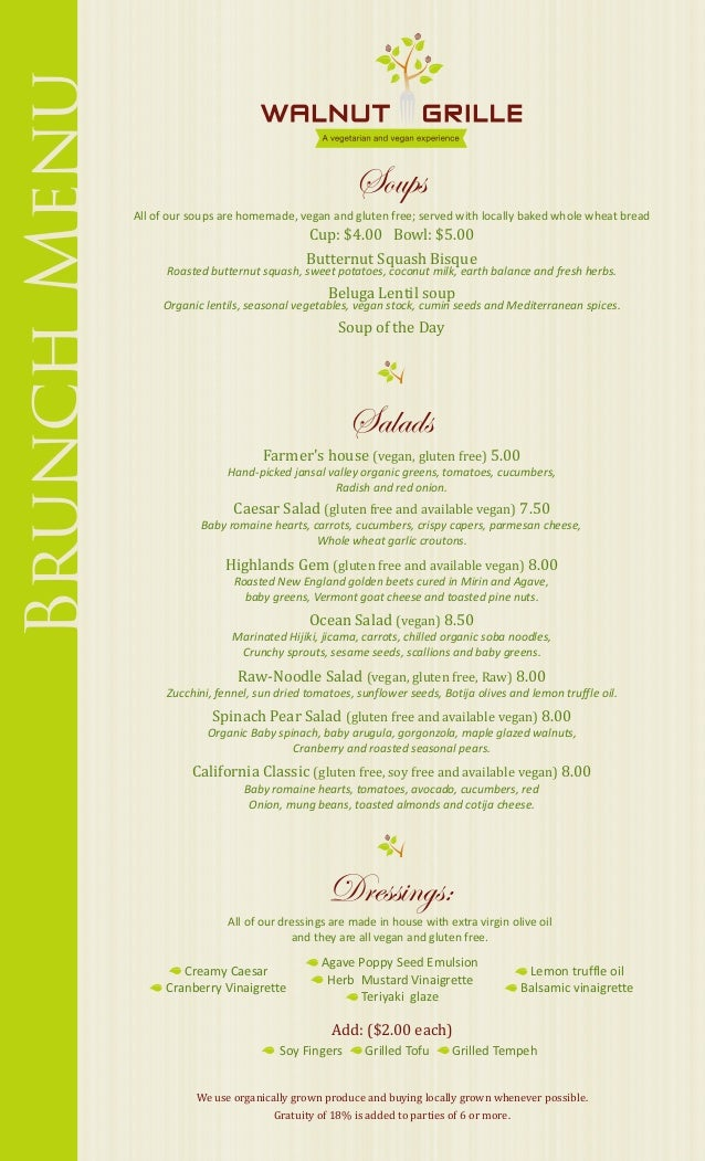 Brunch Menu                                                         Soups              All of our soups are homemade, vega...