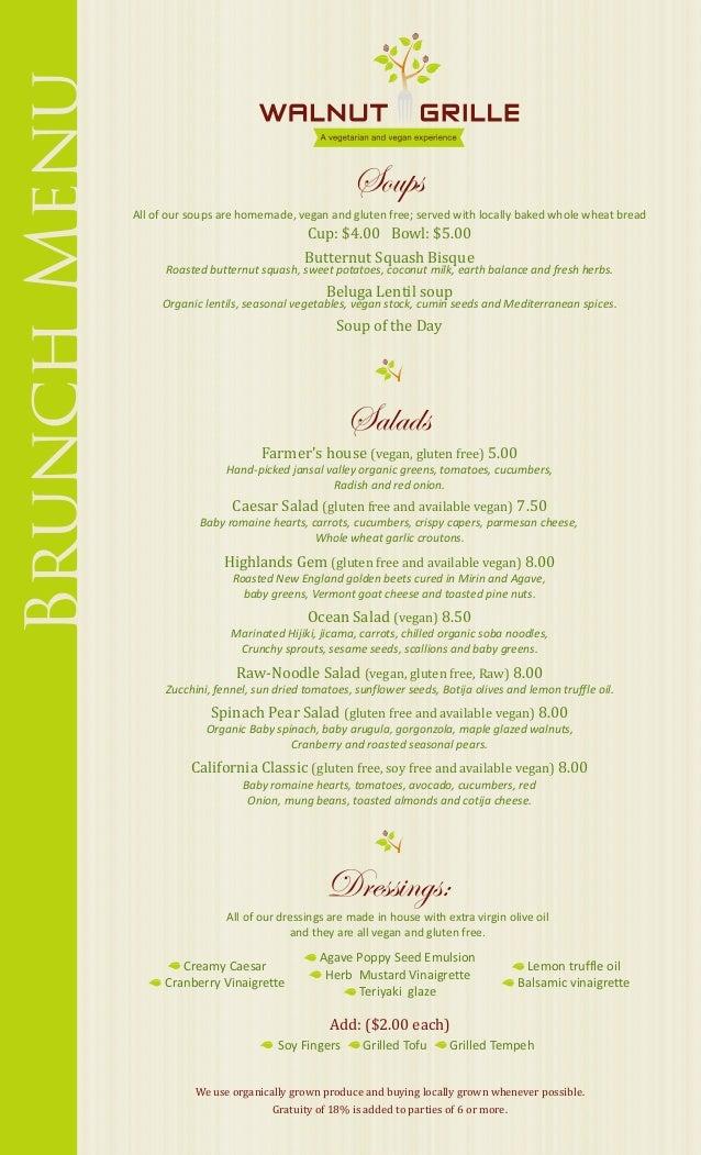 Walnut grille brunch menu