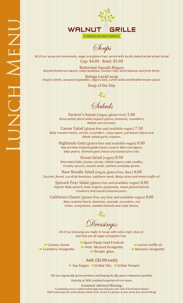 Lunch Menu                                                              Soups             All of our soups are homemade, v...