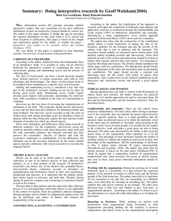 Summary: Doing interpretive research by Geoff Walsham(2006)                                           Babu Geevarathnam, B...