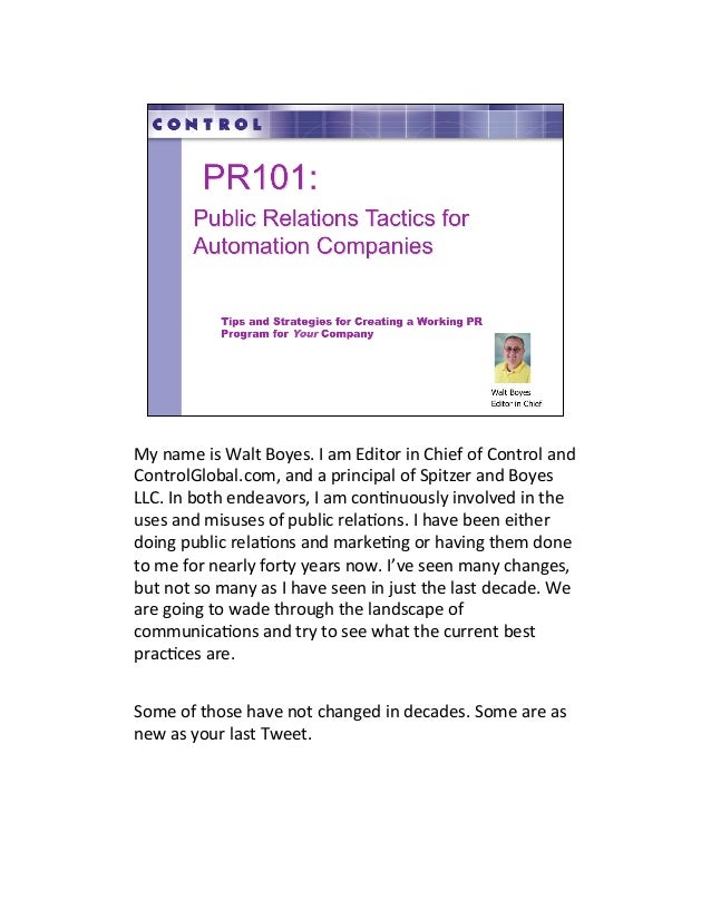 PR101- effective marketing and public relations for the automation industry