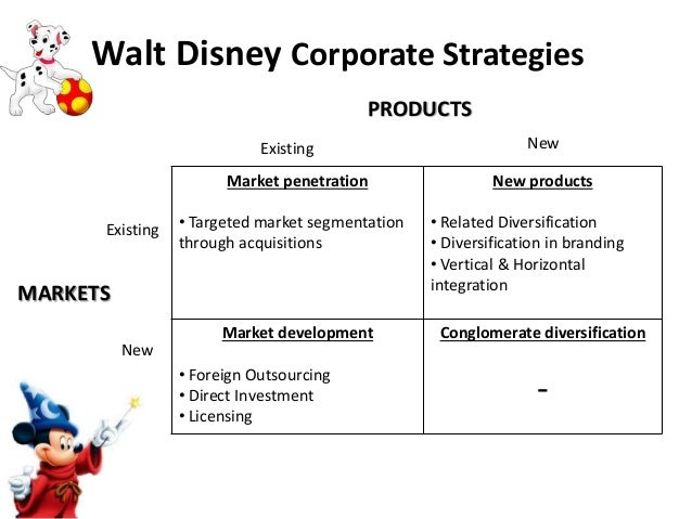 disney diversification strategy As chairman, direct-to-consumer and international, kevin mayer oversees a global, multiplatform media, technology and distribution organization for high-quality content created by disney's studio entertainment and media networks groups mayer's portfolio includes disney's international media.