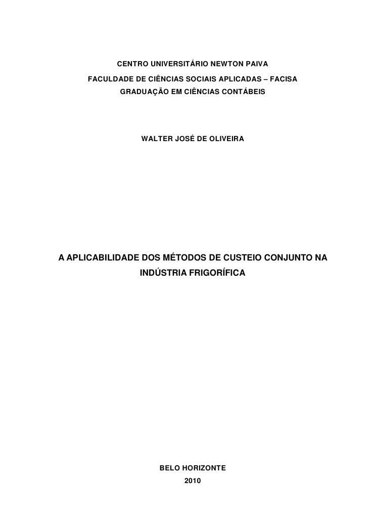 CENTRO UNIVERSITÁRIO NEWTON PAIVA     FACULDADE DE CIÊNCIAS SOCIAIS APLICADAS – FACISA            GRADUAÇÃO EM CIÊNCIAS CO...