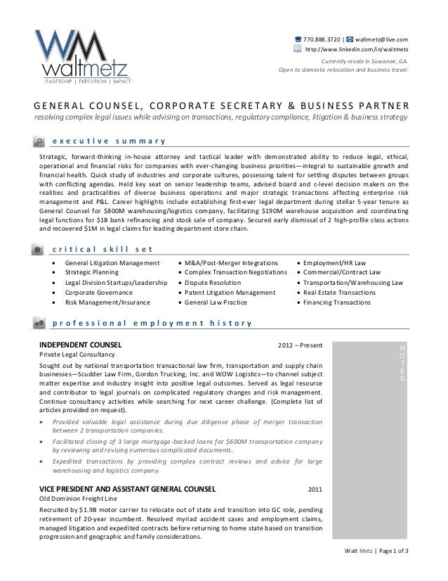 general resume i i waltmetzlivecomhttp www attorney resume cover - Assistant General Counsel Cover Letter